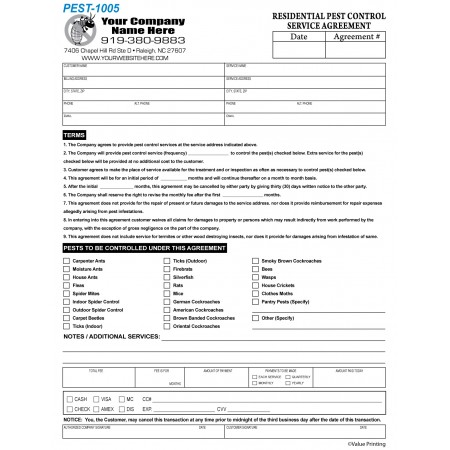 PEST-1005 Pest Control Residential Service Agreement