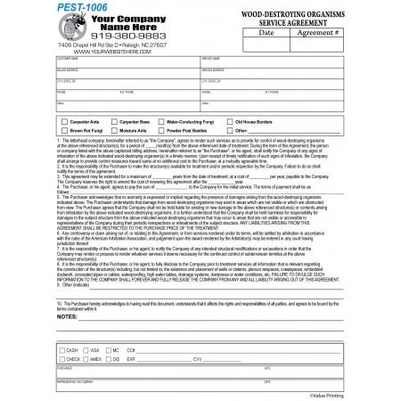 PEST-1006 Wood-Destroying Organisms Service Agreement